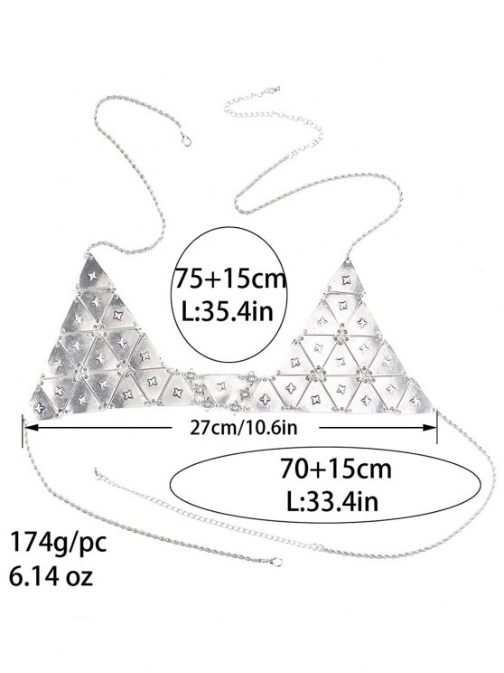 Punk Triangle Bra Body Chain - SILVER  Mobile