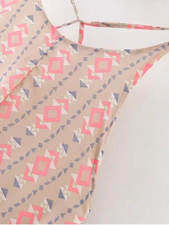 Geometric Print Spaghetti Straps Backless Dress - APRICOT M Mobile