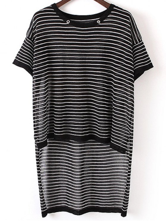 Stripe High Low Sweater - BLACK ONE SIZE(FIT SIZE XS TO M) Mobile