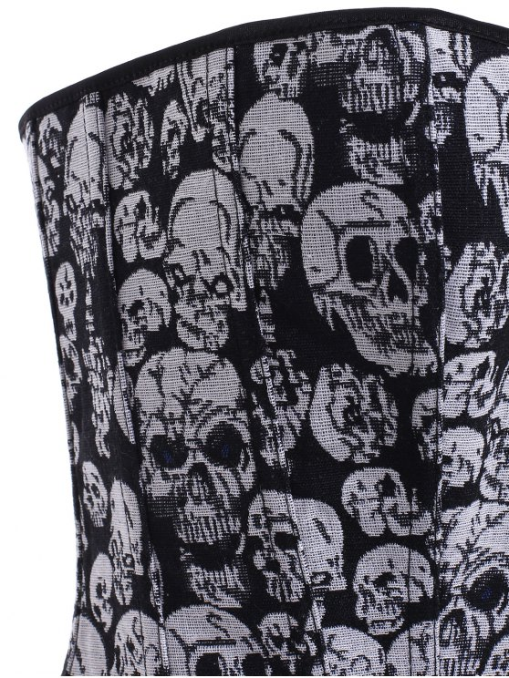 Lace Up Skulls Pattern Corset - BLACK AND GREY 5XL Mobile