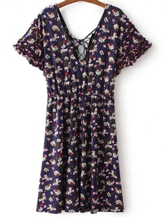 Ata para arriba el cuello en V manga corta vestido de flores Tiny - Azul Purpúreo L
