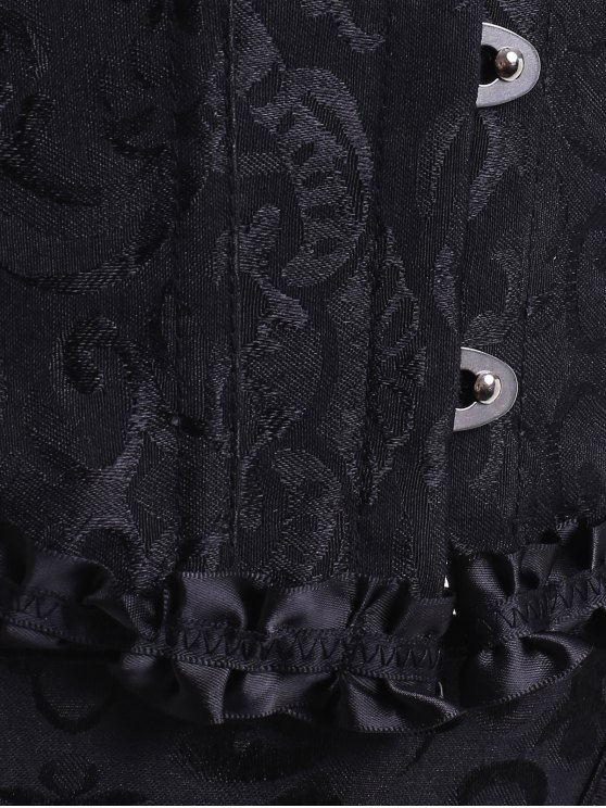 Lace Up Embroidery Corset - BLACK M Mobile