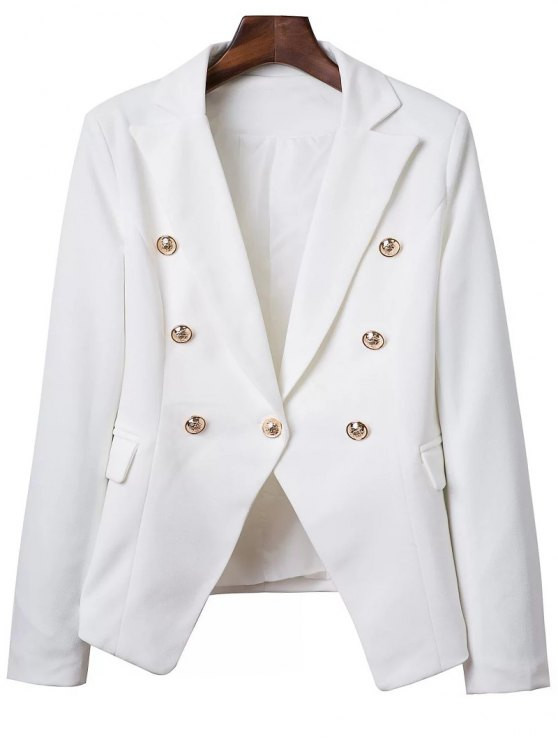 Lapel Collar Solid Color Long Sleeve Buttons Blazer - WHITE M Mobile