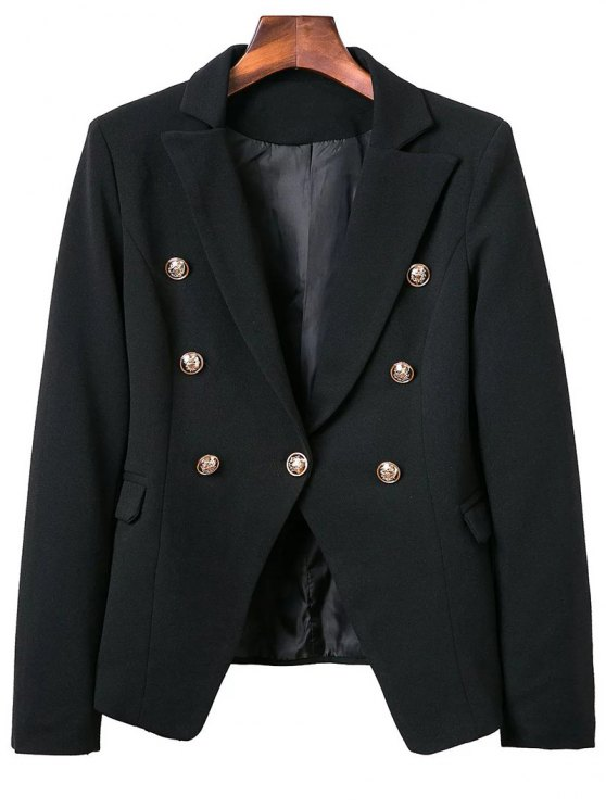trendy Lapel Collar Long Sleeve Solid Color Buttons Blazer - BLACK M