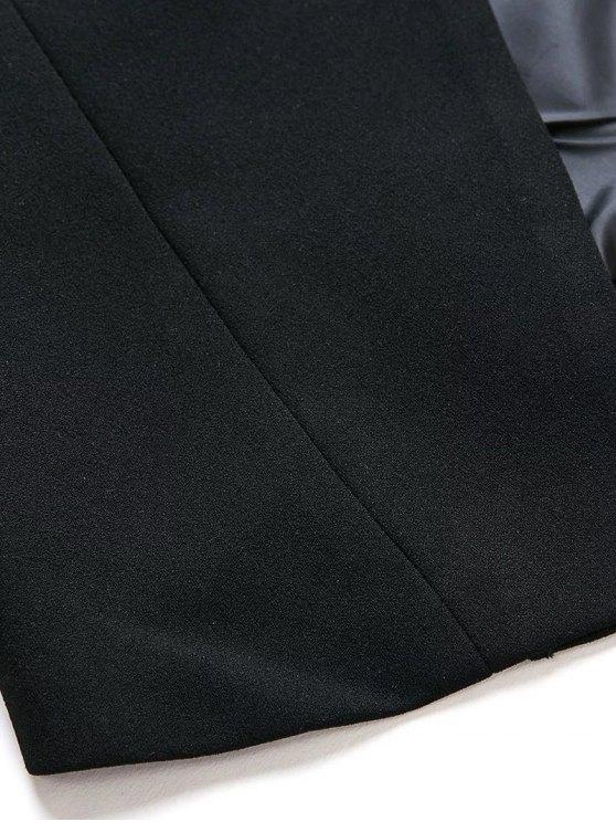 Lapel Collar Long Sleeve Solid Color Buttons Blazer - BLACK M Mobile