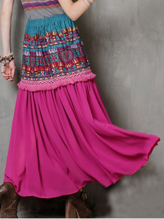High Waist Ethnic Style Fringe Printed Skirt - ROSE RED ONE SIZE(FIT SIZE XS TO M) Mobile