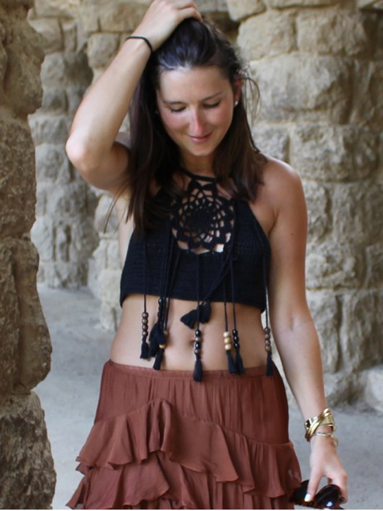Halter Tasselled Crochet Crop Top - BLACK ONE SIZE(FIT SIZE XS TO M) Mobile