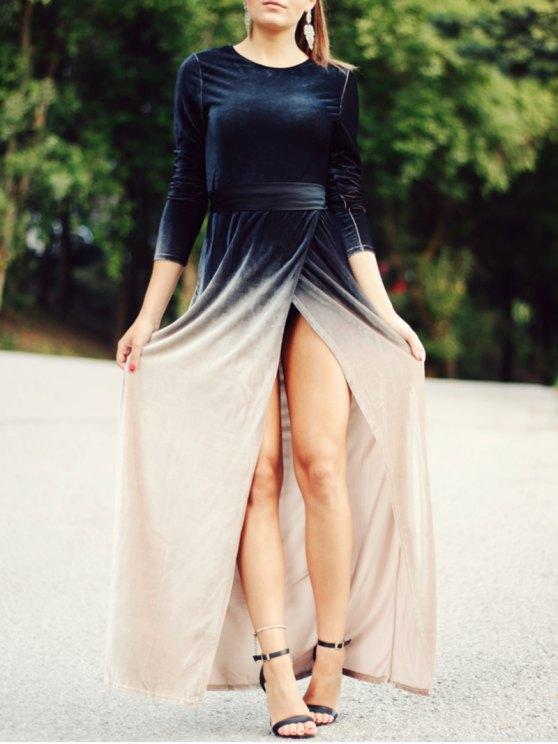 High Slit Long Sleeves Gradient Color Dress - BLACK XL Mobile