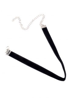 Adjustable Alloy Velvet Chokers Necklace - Black