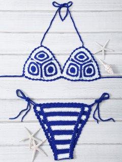 Crocheted Halter String Bikini Set - Blue And White