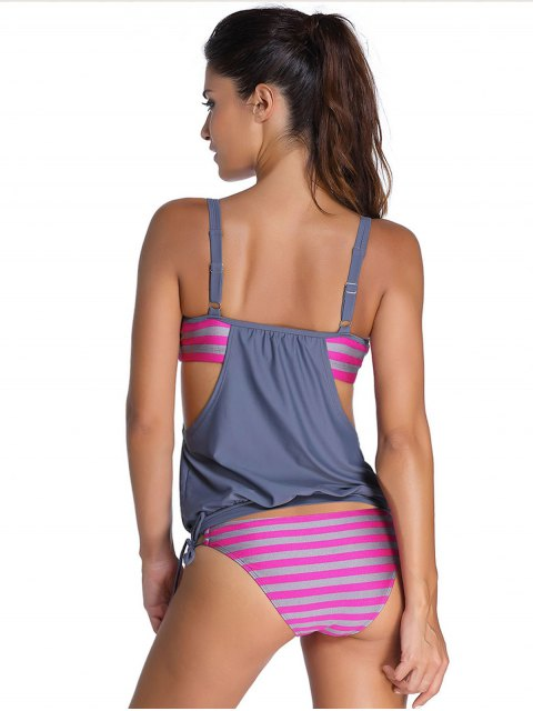 unique Striped Spaghetti Strap Blouson Tankini Bathing Suits - GRAY S Mobile
