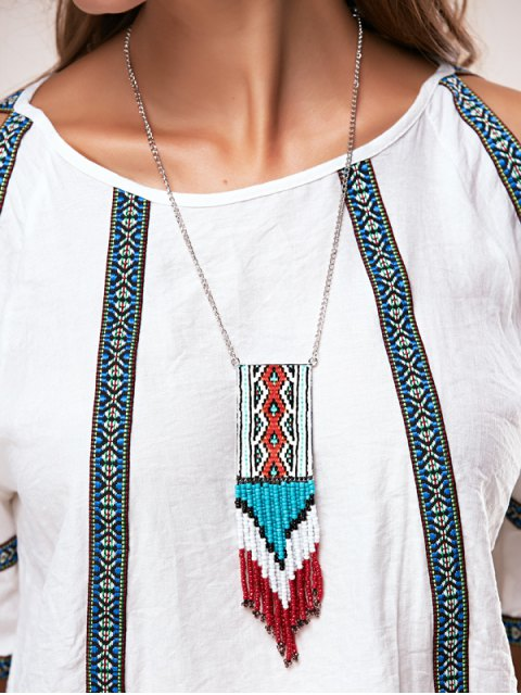 women's Knitted Bead Tassel Necklaces - BLUE  Mobile