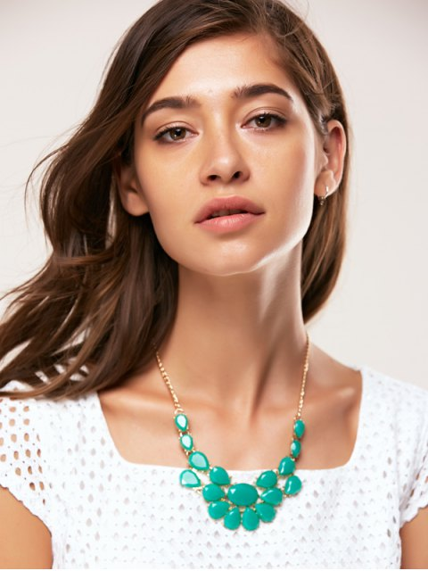 buy Teardrop Faux Gem Necklace - VERDIGRIS  Mobile