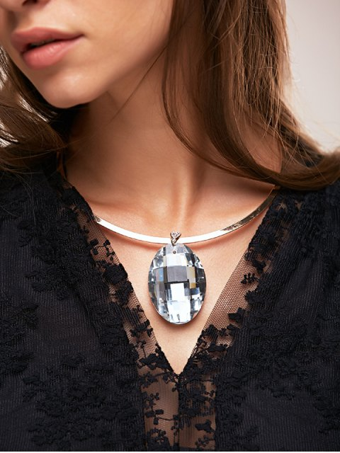 chic Rhinestone Oval Necklace - WHITE  Mobile