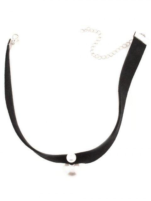 ladies Punk Fake Pearl Choker Necklace - BLACK  Mobile