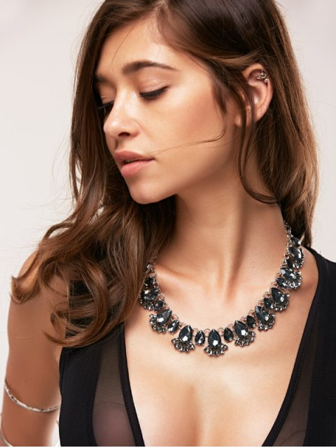 womens Fake Crystal Water Drop Necklace - BLACK  Mobile