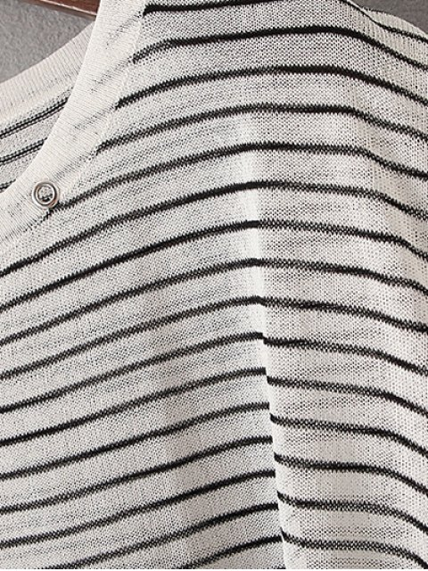 hot Stripe High Low Sweater - WHITE ONE SIZE(FIT SIZE XS TO M) Mobile
