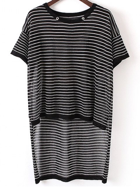 outfit Stripe High Low Sweater - BLACK ONE SIZE(FIT SIZE XS TO M) Mobile
