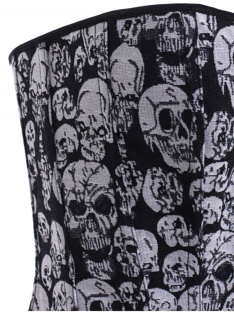 women's Lace Up Skulls Pattern Corset - BLACK AND GREY 6XL Mobile