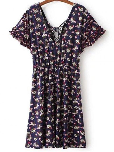 lady Lace Up V Neck Short Sleeve Tiny Floral Print Dress - PURPLISH BLUE L Mobile