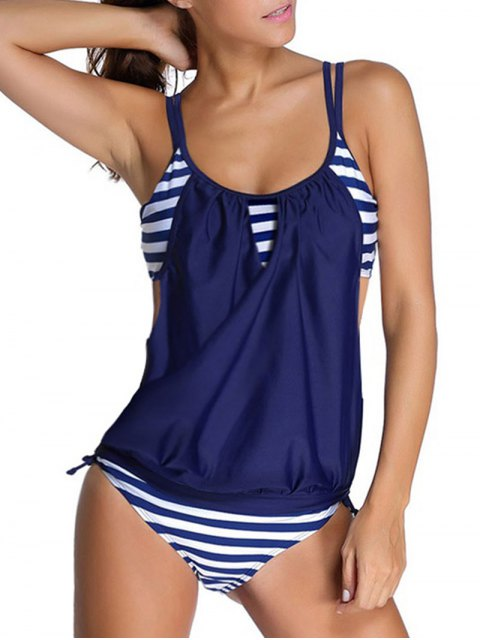 best Striped Spaghetti Strap Blouson Tankini Bathing Suits - DEEP BLUE XL Mobile