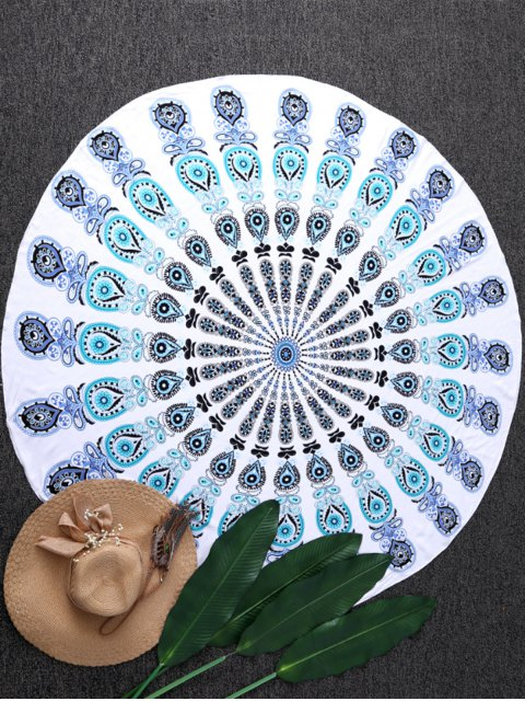 fancy Sandless Round Beach Mat - BLUE AND GREEN ONE SIZE(FIT SIZE XS TO M) Mobile