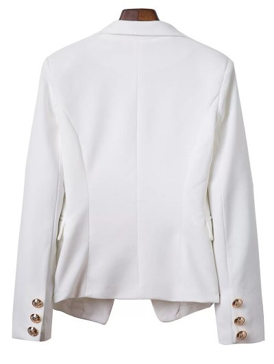 Lapel Collar Solid Color Long Sleeve Buttons Blazer - WHITE L Mobile