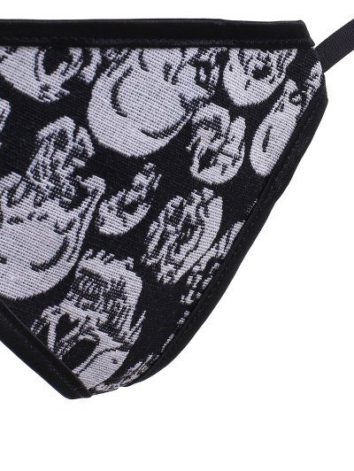 Lace Up Skulls Pattern Corset - BLACK AND GREY M Mobile