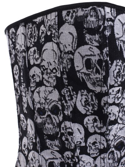Lace Up Skulls Pattern Corset - BLACK AND GREY S Mobile