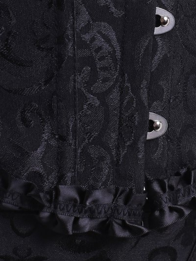 Lace Up Embroidery Corset - BLACK 2XL Mobile