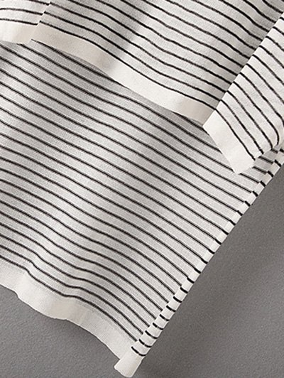 Stripe High Low Sweater - WHITE ONE SIZE(FIT SIZE XS TO M) Mobile