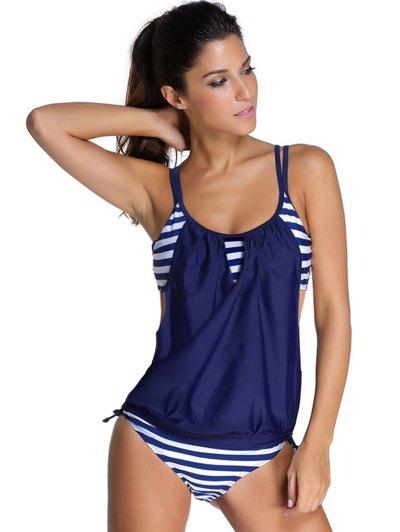 Striped Women's Tankini Bathing Suits - DEEP BLUE 2XL Mobile