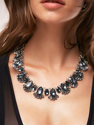 Fake Crystal Water Drop Necklace - Black