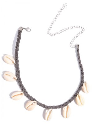 Shell Braid Chokers Necklace - Gray