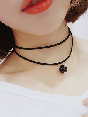 Layered Faux Pearl Necklace - Black