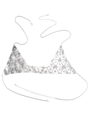 Chain Punk Triangle Body Bra - Argent
