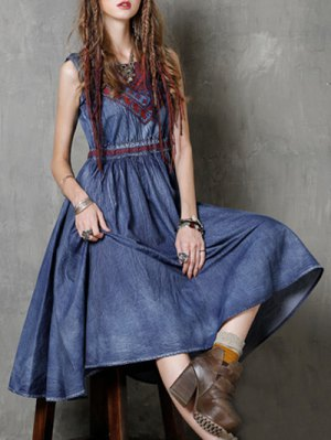 Round Neck Sleeveless Embroidered Vintage Tank Dress - Blue