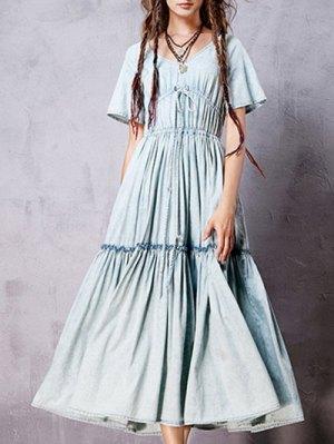 V Neck Short Sleeve Flounce Ruffles Vintage Dress - Light Blue