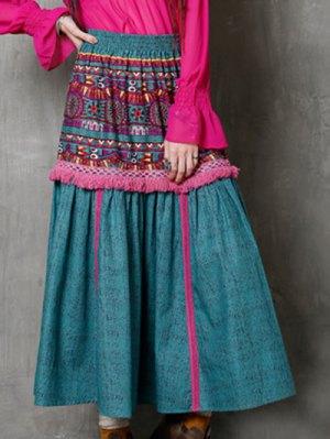 High Waist Ethnic Style Fringe Printed Skirt - Turquoise