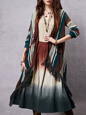 Collarless Long Sleeve Striped Ethnic Style Cardigan