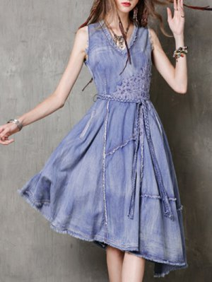 V Neck Sleeveless Embroidered Fringe Denim Dress - Blue