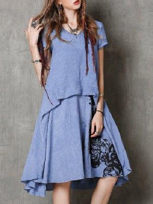 Round Neck Short Sleeve Ink Print Retro Dress - Blue