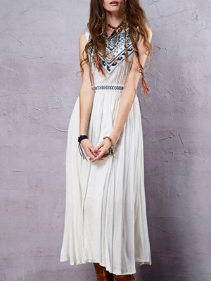 Round Neck Sleeveless Embroidered Tank Dress - Pearl White