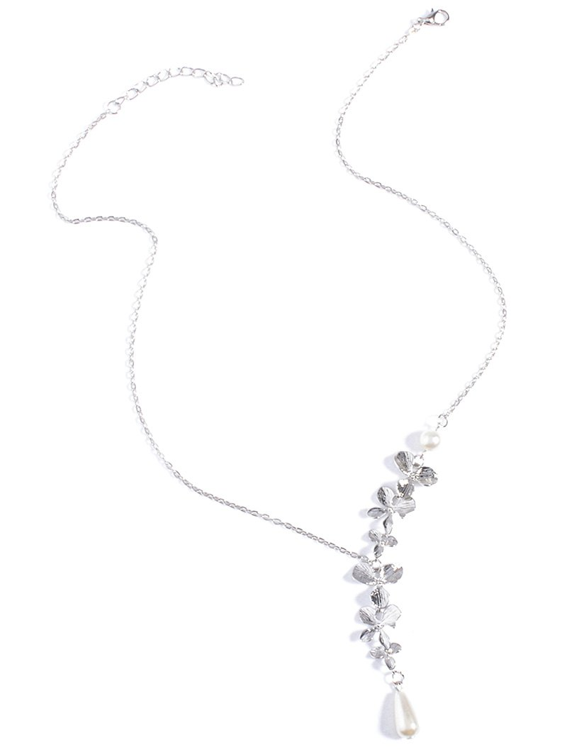 Orchid Fake Pearl NecklaceAccessories<br><br><br>Color: SILVER