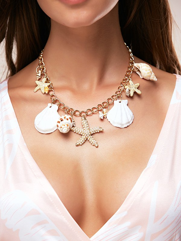 Faux Pearl Starfish Shell Necklace