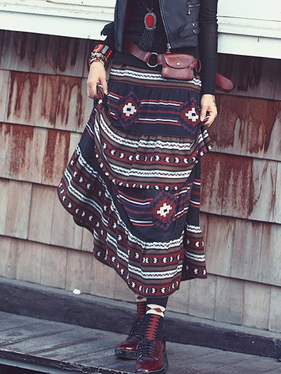 Printed Tiered Long Skirt