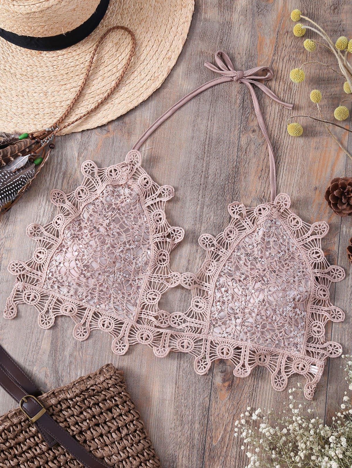 Halter Sequins Embellished Lace Camisole