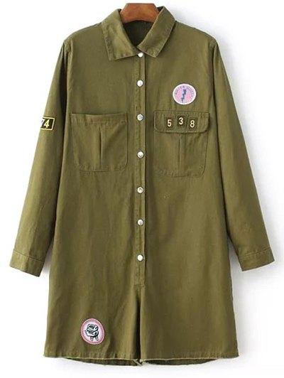 Shirt Collar Long Sleeve Print Patchwork Romper