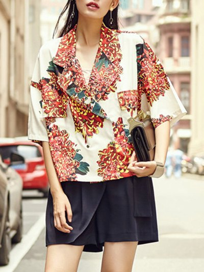Printed Flap Pocket BlazerClothes<br><br><br>Size: ONE SIZE(FIT SIZE XS TO M)<br>Color: COLORMIX