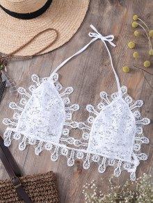 Paillettes Embellies Halter Lace Camisole - Blanc L
